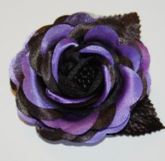 Black purple Halloween Fascinator Rose Flower Hair Clip Gothic Psychobilly