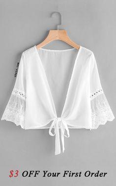 1d278a71eff2e Embroidered Mesh Fluted Sleeve Self Tie Kimono White Kimono
