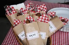 'Dig in' silverware and napkin packages.  Cute idea for barbeque