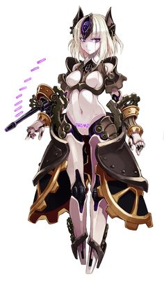 android automaton (monster girl encyclopedia) blonde hair body writing breasts full body gears gun highres kenkou cross looking at viewer medium breasts monster girl monster girl encyclopedia navel purple eyes robot robot ears robot joints short hair Female Character Design, Character Design Inspiration, Character Concept, Character Art, Cute Characters, Fantasy Characters, Female Characters, Anime Characters, Chica Cyborg