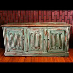 Wonderful Turquoise Blue Multi Color Painted And Distressed Rustic Wood Buffet