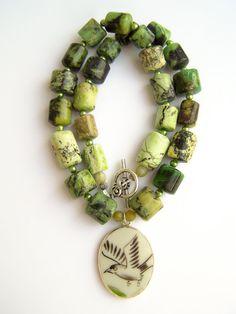 Pottery Shard Necklace Bird Necklace, Chrysoprase Stone Beaded Necklace by polishedtwo, $30.00