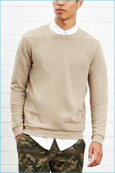 Forever 21 Men Distressed French Terry Pullover