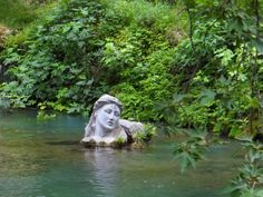 Erkina's river in Livadia town of Voiotia, Greece. The statue in the water is of the nymph whose name the river bears Places In Greece, Simple Minds, Ancient Beauty, Nymph, The Good Place, Garden Sculpture, Landscape, History, Outdoor Decor