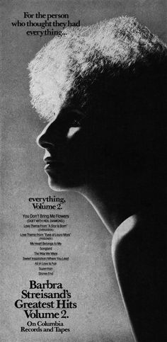 "Barbra Streisand - ""Greatest Hits, Volume 2"" (1978), beautiful ad"