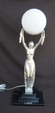 Art Deco Bronze Figurine Lamp Statue Light
