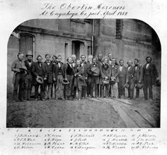 ca. 1859, Oberlin-Wellington rescuers at the Cuyahoga County Jail    The above twenty men from Oberlin, Ohio were arrested upon attempting to free John Price, an escaped slave, from federal custody in Wellington, Ohio.    Price was arrested under the Fugitive Slave Law, in Oberlin, Ohio. Unfortunately for the state marshal who was en-route to returning the runaway to his owner, an active abolitionist sentiment existed in Oberlin. These men followed the marshal to nearby Wellington where they…