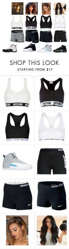 """""""Nike,Jordan's,Work Out Together"""" by jaden-norman ❤ liked on Polyvore featuring Moschino, Topshop and NIKE"""