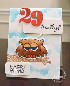 Card by PS DT JJ Bolton using the PS Numbers, Word Bubbles, Owl Icons dies, Hooties and Slang Gang