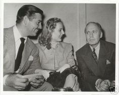 """Clark Gable visits his wife, Carole Lombard, and her co-star, Jack Benny, on the set of their film """"To Be or Not to Be"""" in 1941."""