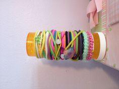 Medicine prescription bottle hair and holder! http://justmeleena.wordpress.com/2012/09/01/hair-and-holder/