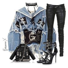 """Untitled #3207"" by breannamules ❤ liked on Polyvore featuring BLK DNM, Fallon, Balmain, Moschino and Giuseppe Zanotti"