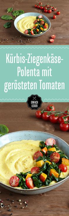 Pumpkin and goat cheese polenta with roasted tomatoes and leaf spinach (vegetarian) - veggie foodinspiration - Dinner Veggie Recipes, Vegetarian Recipes, Dinner Recipes, Cooking Recipes, Healthy Recipes, Vegetarian Cheese, Chicken Recipes, Polenta Crémeuse, Cannelloni