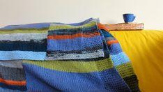 Hand knit blanket stripes in columns in blues by HandknitBlankets, $348.00