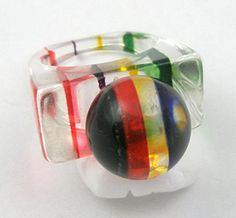 Striped Lucite Ring - Garden Party Collection Vintage Jewelry