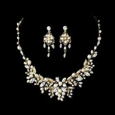 SILVER OR GOLD VINTAGE INSPIRED BRIDAL NECKLACE AND EARRING SET - Click image twice for more info - See a larger selection of bridal jewelry at http://zweddingsupply.com/product-category/jewelry/ -  woman, wedding fashion, wedding style, bride accessories, wedding ideas