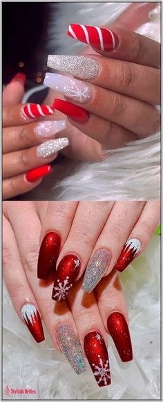 Cutest and Festive Christmas Nail Designs for Celebration Amazing snowflake, glitter, and red Christmas nails ideas!Amazing snowflake, glitter, and red Christmas nails ideas! Chistmas Nails, Cute Christmas Nails, Xmas Nails, Holiday Nails, Christmas Ideas, Christmas Acrylic Nails, Christmas Present Nails, Christmas Manicure, Christmas Glitter