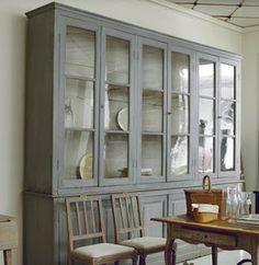 big French bookcase with original gray paint. Küchen Design, Interior Design, Blog Design, Kitchen Cupboards, Grey Cupboards, Furniture Inspiration, Built Ins, Painted Furniture, Furniture Design