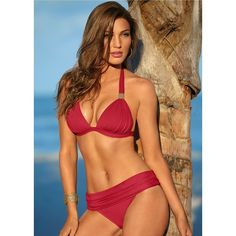 713af010c5236 Venus Women s Ruched Waist Moderate Bikini Swimsuit Bottoms ( 28) ❤ liked  on Polyvore. Red SwimsuitRed BikiniHot ...