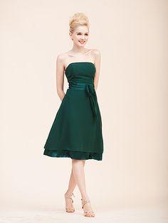 Simple Chiffon Strapless Dress with Layered Skirt