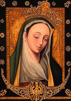 kopia obrazu Matki Bożej Rokitniańska cierpliwie słuchającej