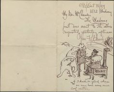 Frederick S. Church letters to Mr. Chambers, 1899, undated. 1899. The Metropolitan Museum of Art, New York. Thomas J. Watson Library. Miscellaneous papers, 1781-1949 Manuscripts.  #sketches | A bevy of creatures watches the artist at work.