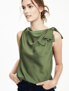 Banana Republic Knot Blouse in olive