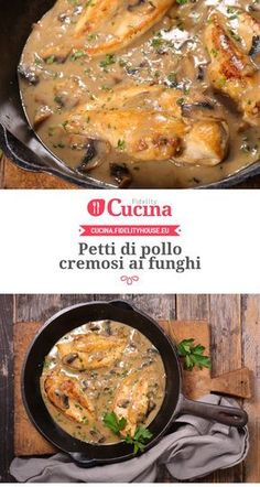 Creamy chicken breasts with mushrooms-Petti di pollo cremosi ai funghi Breasts of creamy ai - Italian Chicken Recipes, Meat Recipes, Healthy Recipes, Daily Meals, Creamy Chicken, Peru, Food Inspiration, Food Porn, Good Food