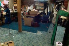 New sewing room layout. Yes I know it needs to be made more party-ready than in this picture.