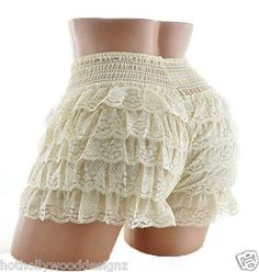 IVORY Lace Burlesque Knickers HALLOWEEN Sissy Square Dance Pettipant Bloomer S M | eBay