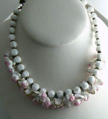 Vintage Miriam Haskell Pink and White Dangling Glass Flower Necklace - Vintage Lane Jewelry - 1
