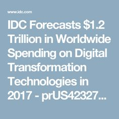 IDC Forecasts $1.2 Trillion in Worldwide Spending on Digital Transformation Technologies in 2017 - prUS42327517