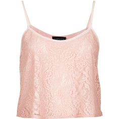 TOPSHOP Lace Crop Cami ($20) ❤ liked on Polyvore featuring tops, shirts, crop top, tank tops, pale pink, lace tops, lace crop top, cami crop top, strappy crop top and pink top