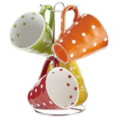 Polka Dot Mugs on Tree Those are so cute, I love pok-a-dots! Paint Your Own Pottery, Painted Pottery, Apartment Needs, Mug Tree, Pottery Painting Designs, Connect The Dots, Cute Mugs, Drinking Tea, Painting Inspiration