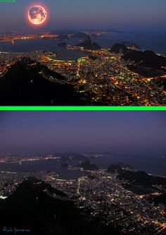 """Fake - Red Moon over Rio de Janeiro - The original image is on the bottom and is titled """"O Rio de Janeiro Continua Lindo...""""(The Rio de Janeiro continues Beautiful ...) by .**rickipanema** on Flickr."""