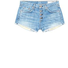 Rag & bone/jean 'Marilyn Fly' denim shorts ($245) ❤ liked on Polyvore featuring shorts, blue, short jean shorts, distressed shorts, blue jean shorts, ripped denim shorts and destroyed denim shorts