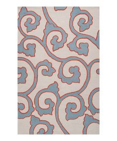 Slate Blue & Red Clay Mezzo Rug by Surya (paint a cream Ikea rug in this pattern for the living room, but in gray, coral and dark teal with a punch of red?)