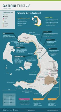 Santorini Map & Travel Guide – Updated for 2019 - gute idee - Santorini Map, Santorini Vacation, Santorini Beaches, Greece Vacation, Greece Travel, Greece Trip, Perissa Santorini, Mykonos Greece, Crete Greece