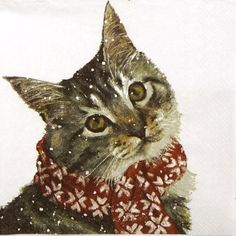 Single Party Paper Napkins for Decoupage Decopatch Craft Kitty on White Napkin Decoupage, Paper Napkins For Decoupage, Tissue Paper Crafts, Christmas Scarf, Christmas And New Year, Maurice Careme, Charity Christmas Cards, Winter Cat, White Napkins