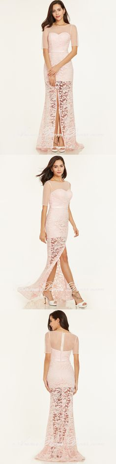 Chic Sheath/Column Prom Dresses Black Long Modest Cheap Prom Dress ...