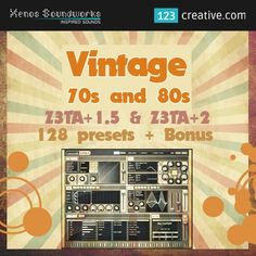 ► VINTAGE 70s AND 80s PRESETS for Z3ta+ 1.5 & Z3ta 2: Genres: 80s, Ambient, Chillout, Hip Hop, 70s, House, Techno, Pop, Rock, Breakbeat, Soundtrack, Bassline, Blues, Dance, Electro, Hip Hop, Pop, Progressive, Soul, Oldschool, Underground Rave Music - DOWNLOAD link: http://www.123creative.com/electronic-music-production-z3ta-z3ta2-presets/1257-vintage-70s-and-80s-presets-for-z3ta-15-z3ta-2.html