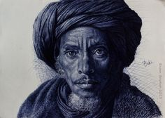 Incredible Photorealistic Ballpoint Pen Drawings by Enam Bosokah Artist Enam Bosokah from Ghana, uses a blue ballpoint pen to create impressive portraits and drawings… Biro Art, Ballpoint Pen Drawing, Amazing Drawings, Realistic Drawings, Pen Drawings, Ghana Art, Leave Art, Black And White Drawing, African Art