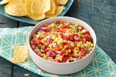 Easier than mine! Fresh Corn Salsa – Homemade corn salsa is the ultimate way to enjoy seasonal veggies. Plus, you can have this appetizer recipe party ready in just 15 minutes. Hamburgers, Salsa Guacamole, Fruit Salsa, Taco Bell, Cooking Recipes, Healthy Recipes, Fun Recipes, What's Cooking, Cooking Tools