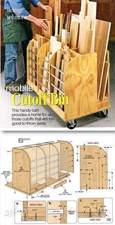 Tips Mobile Cutoff Bin - Workshop Solutions Projects, Tips and Trick. - Woodworking Tips Mobile Cutoff Bin – Workshop Solutions Projects, Tips and Tricks by jeannie -Woodworking Tips Mobile Cutoff Bin - Workshop Solutions Pro. Woodworking Bench Plans, Woodworking Garage, Learn Woodworking, Woodworking Workshop, Woodworking Projects, Woodworking Furniture, Wood Furniture, Garage Workbench, Woodworking Joints