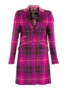 Exclusive Cerise Checked Coat by Harris Tweed