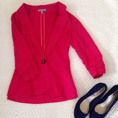 Pink linen blazer Add color to your wardrobe to your everyday work outfits! Charlotte Russe Jackets & Coats Blazers