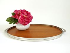 Vtg Art Deco Style Metal and Wood Serving Tray / Made in Holland by AttysVintage on Etsy