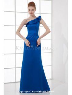Satin Asymmetrical Sheath Floor Length Prom Dress