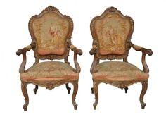 Paire de fauteuil noyer sculpté style Louis XV fin XIXème  [2650,00€]