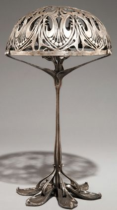 Art Nouveau Pewter Candlestick Lamp